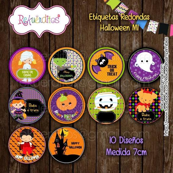 Pack Etiquetas Redondas Multiusos Editables Halloween