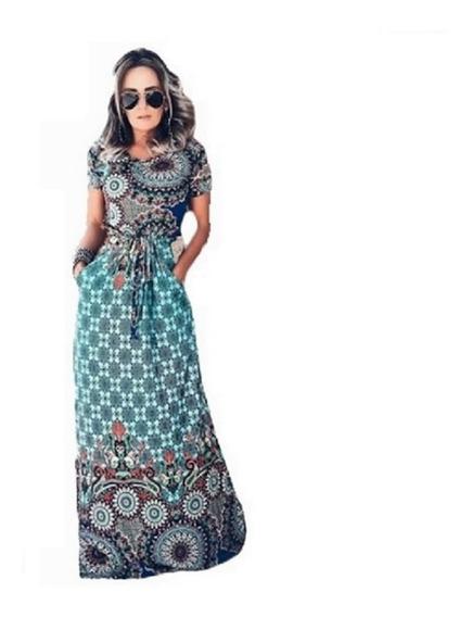 Vestido Longo Moda Evangelico Estampado Malha Manga Curta