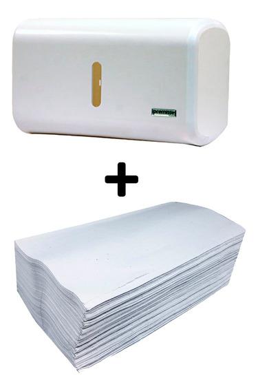 Dispenser Toalheiro De Papel + Papel Toalha Branco De Luxo