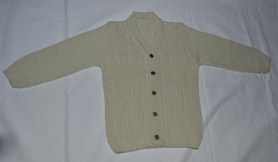 Sweater De Hilo Fino, Color Beige Con Botones, Talle 2 Años