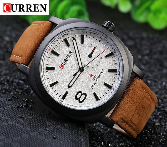 Relógio Couro Top Original Analógico Militar Luxo Promoção