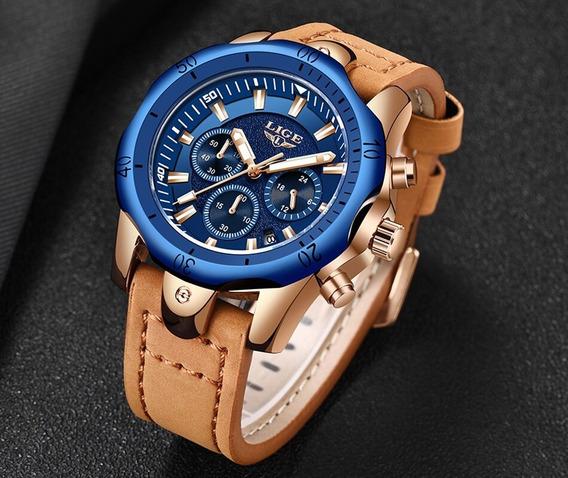 Relógio Masculino Lige 9862 Azul E Dourado