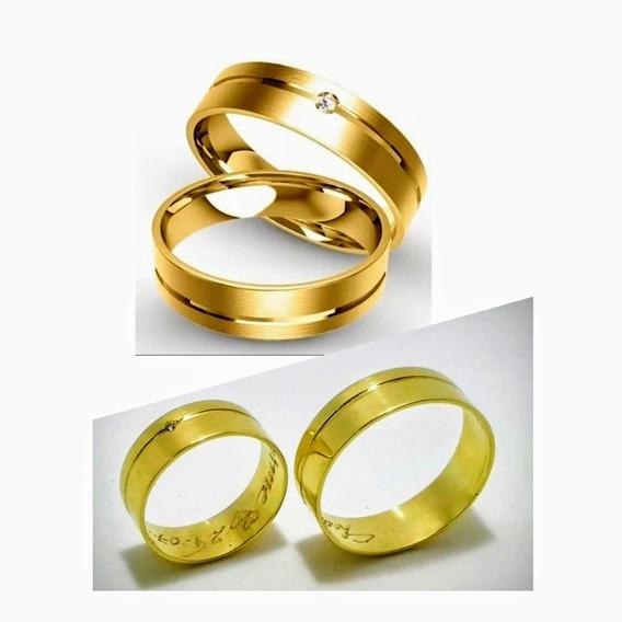 Par Alianças Ouro 18k Casamento 5mm 4,5 Gramas Noivado Anel