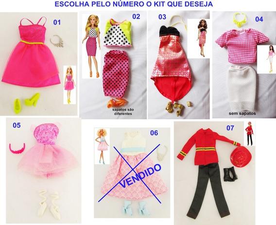 Escolha 1 Kit Roupa Barbie Fashionista Acessório Sapato