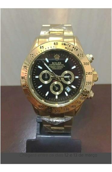Relógio Daytona Gold Dourado E Preto 40mm Unissex Novo