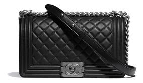 Bolsa Chanel Le Boy Media Couro Caviar Original Na Caixa