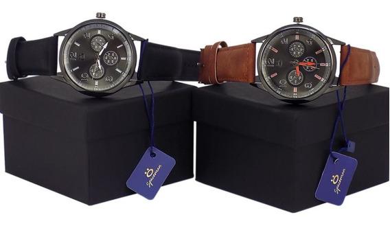 Kit 2 Relógios Masculino Dourado Original Promoção + Caixa