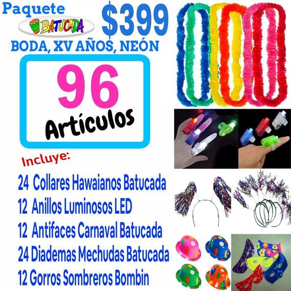 Paquete Batucada 96 Artículos Boda Neon Fiesta Party Xv Años