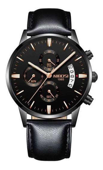 Relógio Nibosi Masculino 2309 Pulseira De Couro Preto C/ N F
