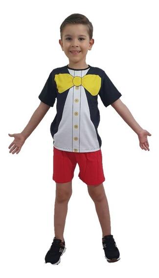 Pijama Curto Fantasia Infantil Mickey Mouse Ratinho Meninos