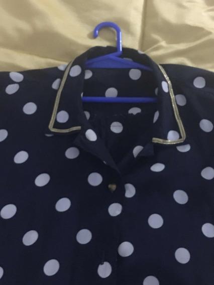Camisa De Seda Azul