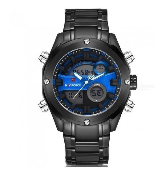 Relógio Masculino Digital E Analógico (todo Em Aço Escuro)