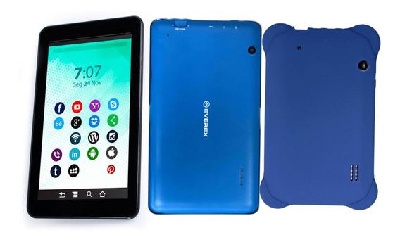 Tablet Tela 7, 1gb De Ram Android 8 + Capa Emborrachada Azul