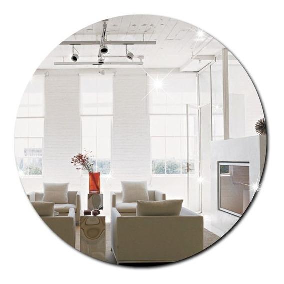 Espelho Decorativo Acrílico Redondo 40x40cm Sala Banheiro
