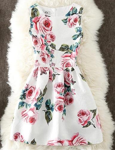 Vestido Elegante Rosas Flores Talla S Nuevo Con Etiqueta