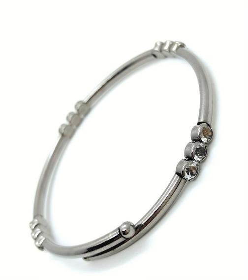 Bracelete Flexível Strass Banho Ródio Negro 3099