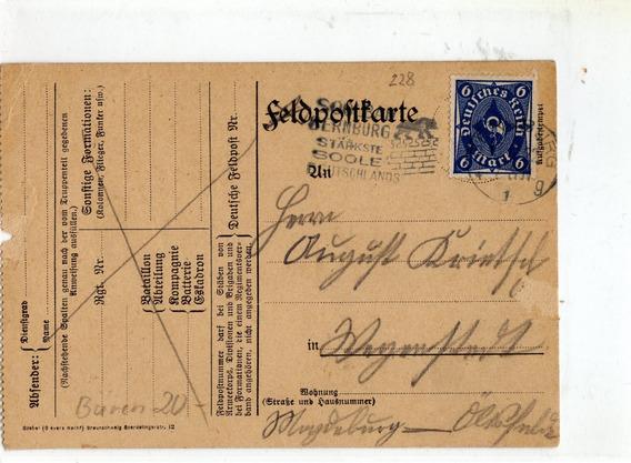 Reich Entero Postal Feldpost Usado Como Entero Comun