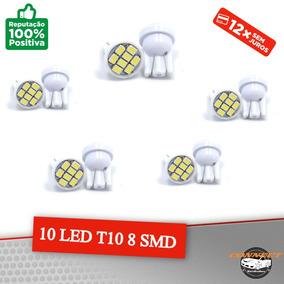 10 T10 8 Leds Smd Branco Brilhante 6000k Xenon 6000k
