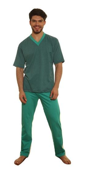 Pijama Hombre Jersey Remera Rayada Pantalón Largo Liso