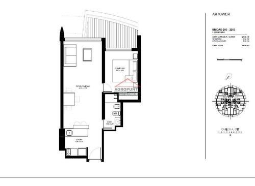 Apartamento En Brava, 1 Dormitorios *- Ref: 2538