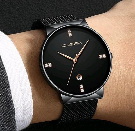 Relógio Masculino Cuena Executivo Malha De Aço Pressarium
