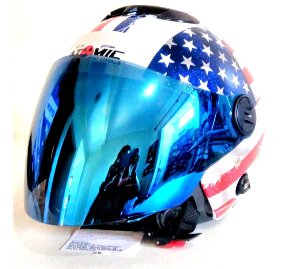 Capacete Pro Tork Bandeira Usa Estados Unidos + Viseira Azul