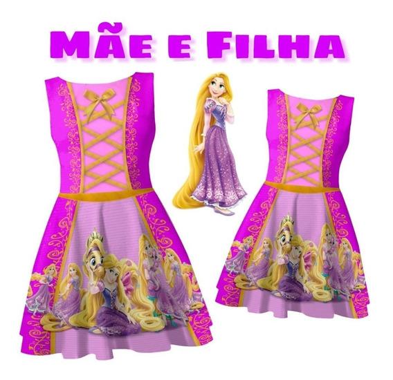 Kit De Vestido Tal Mãe Tal Filha Rapunzel Modelo Boneca