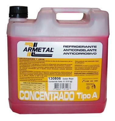Liquido Anticongelante Armetal 5 Litros Rojo  Permanente