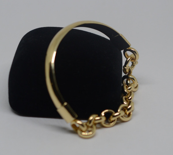 Pulseira Meio Bracelete Portuguesa Grossa Ouro 18k 750 20 Cm