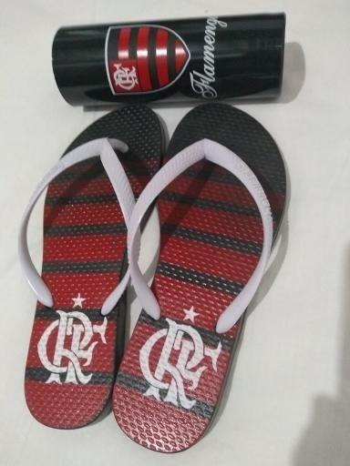 Chinelo Do Flamengo Feminino Sandália Havaiana + Copo Mengão