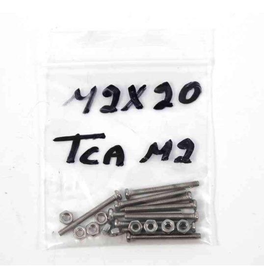 Paquete 10 Tornillos M2 20 Mm Y 10 Tuercas M2