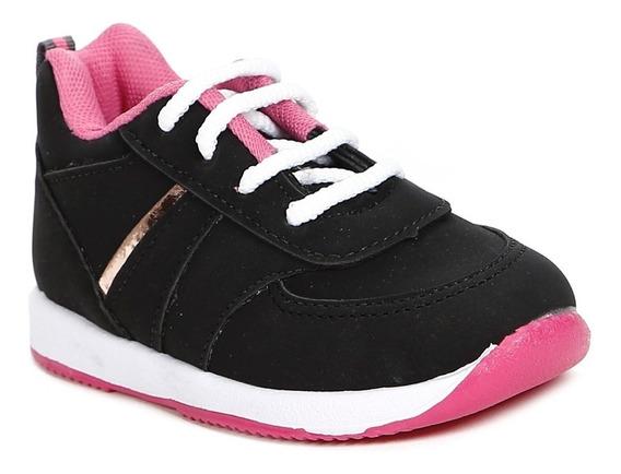 Tênis Infantil Para Bebê Menina - Preto/rosa