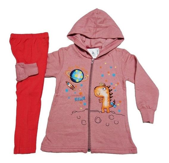 3 Conjunto Moletom Infantil Menina Feminino Calça Blusa Zipe
