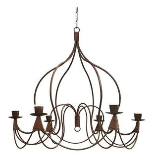 Lámpara Colgante Araña Campana 6 Luces - Jaula Hierro Óxido