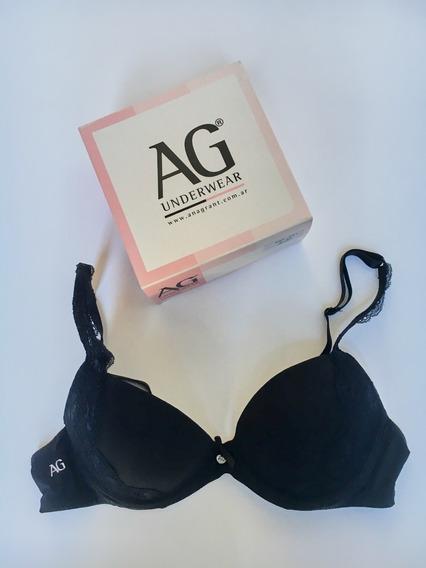 Ana Grant Ag Underwear Corpiño Encaje Negro Talle 90