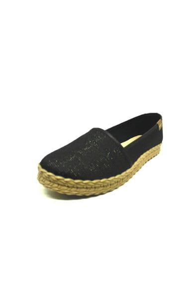 Sapatos Femininos Alpargata Preto Moleca