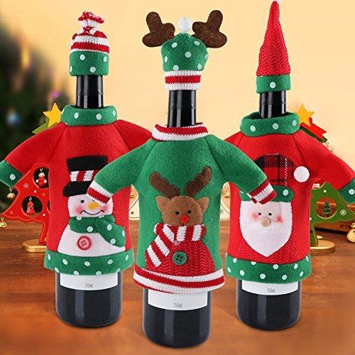 Partytalk Juego De 3 Fundas Para Botellas De Vino De Navidad