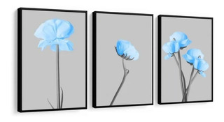 Quadro Flores Azul Decorativo Sala Quarto Recepção