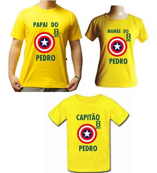 Kit Família 3 Camisetas Capitão América Para Aniversario