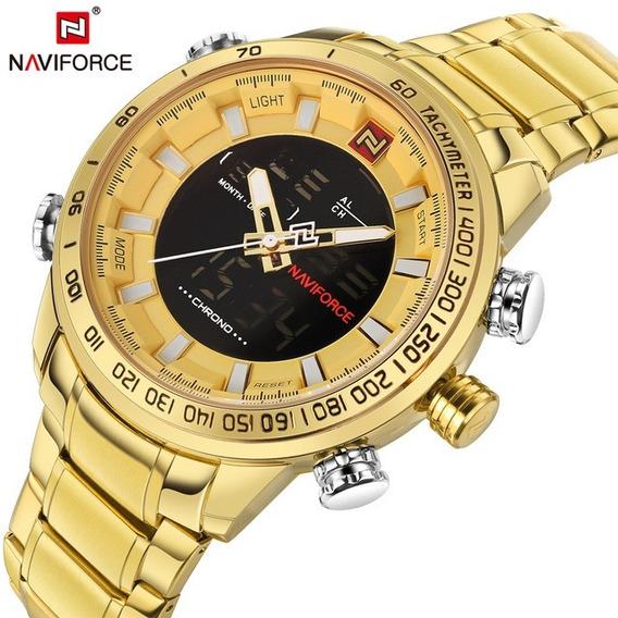 Relógio Masculino Dourado Esportivo Naviforce Original