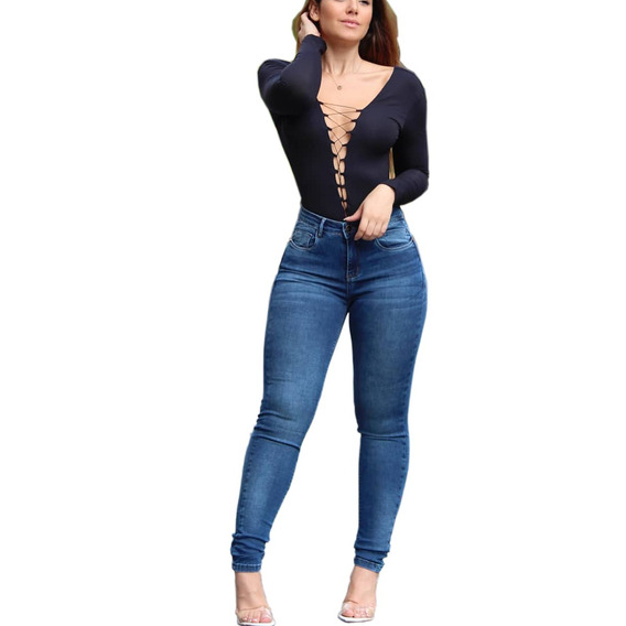 Calça Jeans Feminina Original Sawary Cintura Alta C. Lycr