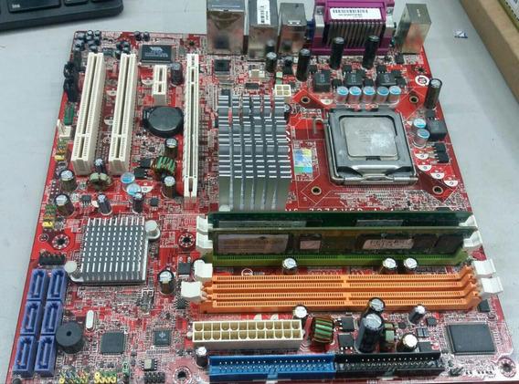 Kit Placa Mãe 775 Via Ms-7276 Ver:1.4 Ddr-2 2g + Core 6300
