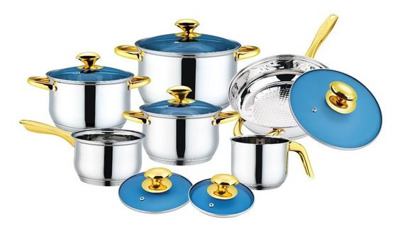 Bateria De Cocina 12 Pz Cristy Fraciel Acero Inox. Induccion