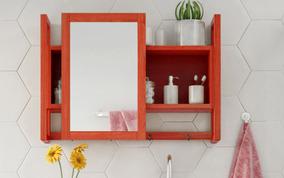 Espelheira Gabinete Com Espelho Para Banheiro Vermelho Aquil