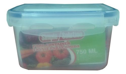 Envase Plástico Para Alimentos Cierre Hermético 750 Ml 2 Und