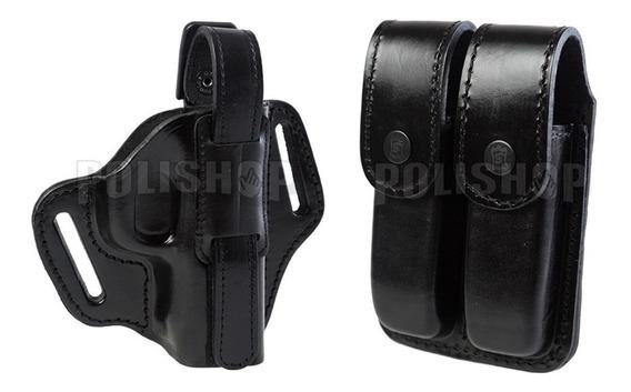 Kit Táctico Cuero Policial Pistolera + Porta Cargador Doble