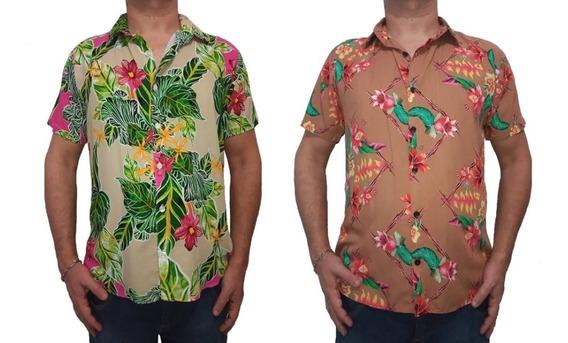 Kit 2 Camisa Floral Verao Viscose Folhagem Envio Imediato