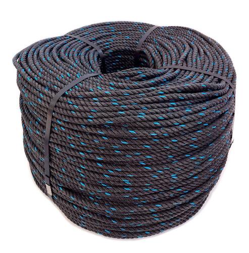 Cuerda Rafia De 8 Mm. Negro Con Pinta Azul.