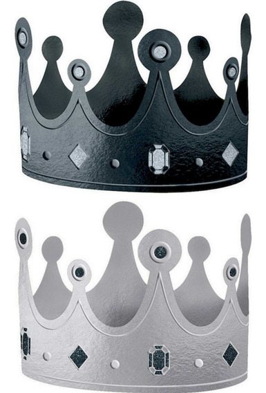 12 Coronas Carton Rey Reina Fiesta Negro Plata Brillo Premio