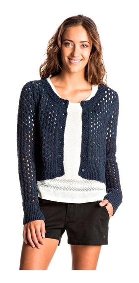 Suéter Dama Diseño Longitud Corta Tejido Punto Azul Roxy